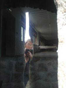 Jen looking into the Forbidden Castle (Hohlandsbourg)