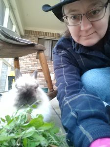 Me with Miffy, a white Jersey Woolie rabbit