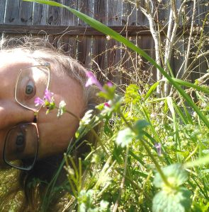Me with purple weeds in bloom